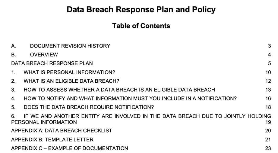 Data Breach Response Plan and Policy Table of Contents